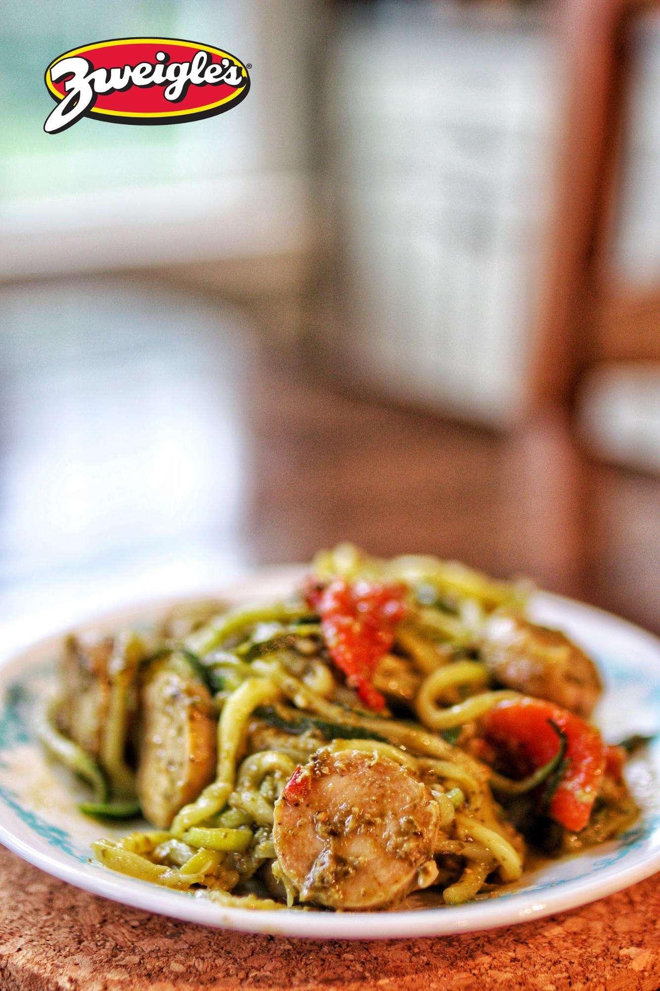 Zweigle's 5 Ingredient Chicken Sausage Pesto Pasta
