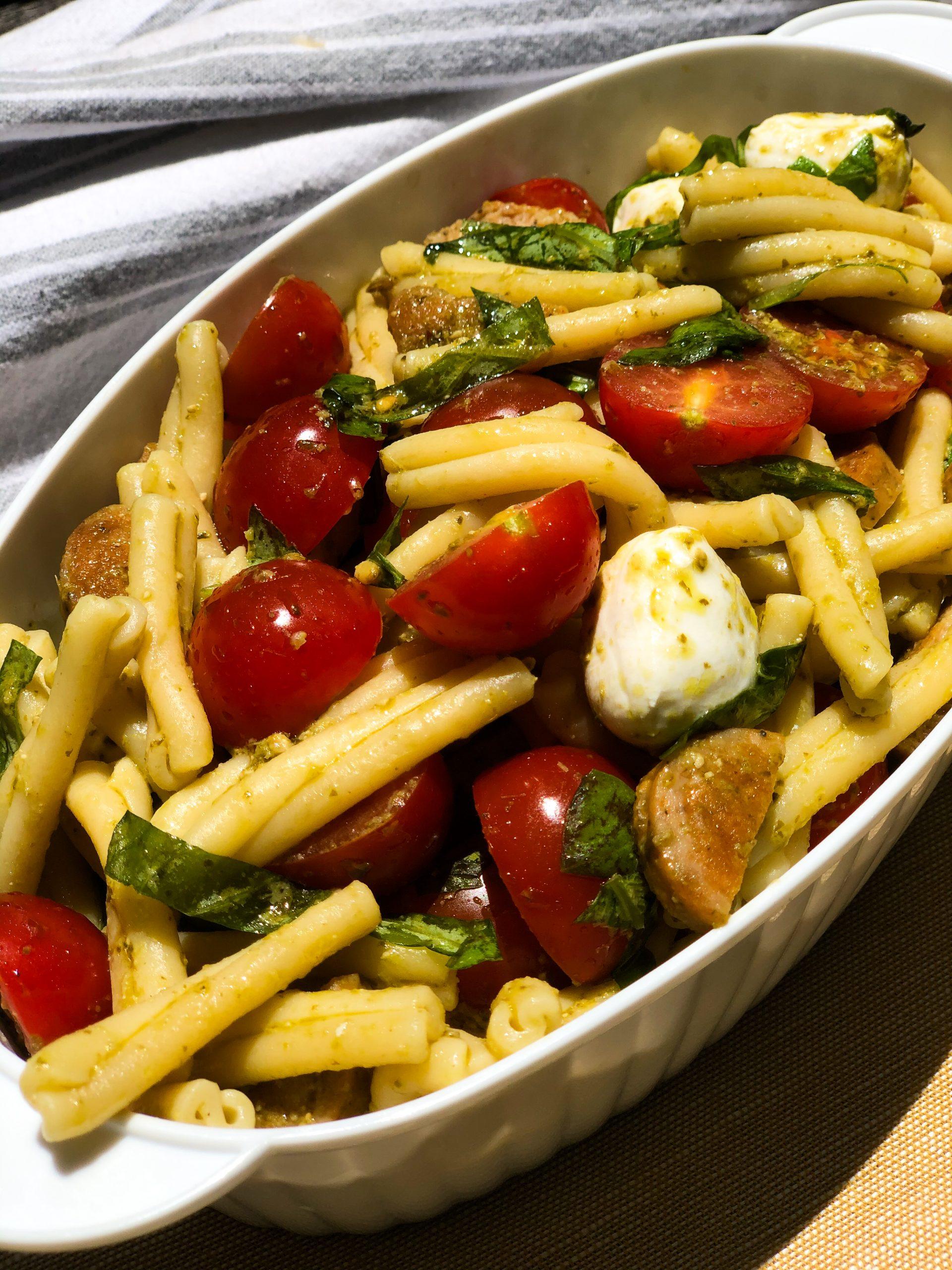 Caprese Pasta Salad with Italian Chicken Sausage